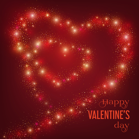 Valentines Day card with glittering line of hearts