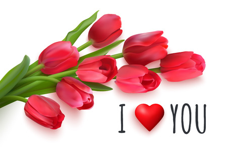 Bouquet of red tulips on a white background. Handwritten text I love you. Vector Photo realistic delicate flowers and heart.
