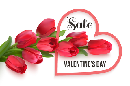 Bouquet of red tulips on a white background. Red heart shape frame with text Sale Valentines Day. Seasonal sale banner. Vector Photo realistic delicate flowers and heart. Stock Illustratie