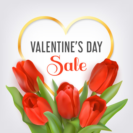 Golden heart shape frame with text Sale Valentines Day and bouquet of red tulips. Seasonal sale banner. Vector Photo realistic delicate flowers and heart.