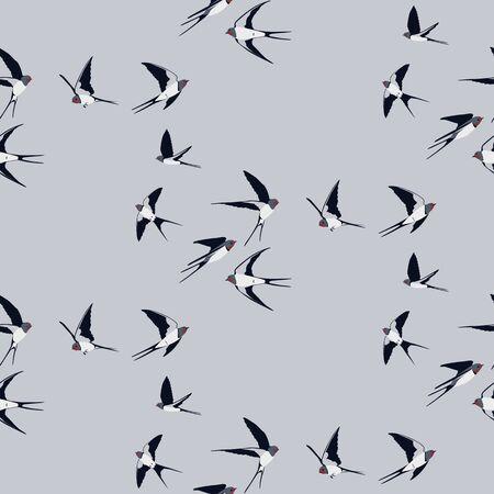 Seamless pattern with swallow birds Çizim