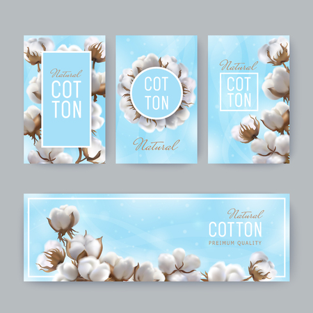 Set of vertical tags and horizontal banner with photo realistic cotton balls on a light blue background and text natural cotton with blurred spots and shine. Perfect for business labels, price textile Stock Illustratie
