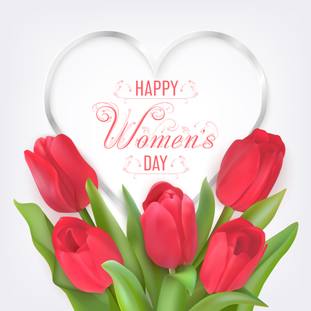 Silver heart shape frame with text Happy Women day and bouquet of red tulips. Seasonal sale banner. Vector Photo realistic delicate flowers and heart.
