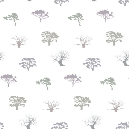 Isolated silhouettes of the trees pattern. Trees of pastel colors on a white background.
