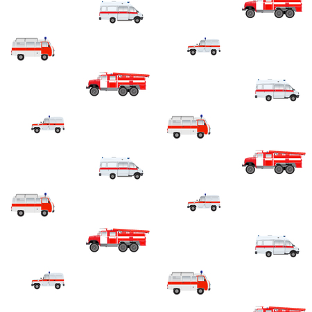 Seamless pattern with emergency cars - white and red cars. Fire, ambulance, police cars on a white background.