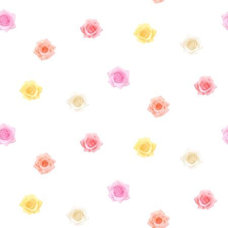 Photo realistic colorful roses pattern on a white background. Vector Seamless flower pattern for any holiday, Mothers day, Valentines day, Womens day, Birthday. Stock Illustratie