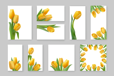 Set of floral vertical, horizontal cards for wedding, birthday. Vector design for print project, banner, poster, invitation, brochure. Photorealistic yellow tulips isolated on a white background. Stock Illustratie