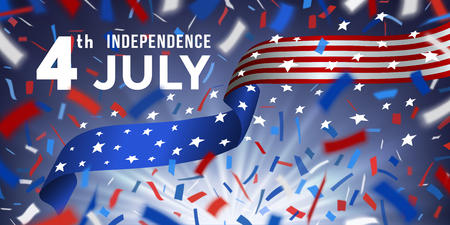American independence day celebration horizontal card with colorful flying confetti and ribbon of national flag of of United States of America. Red, white, blue design with blurred rays.