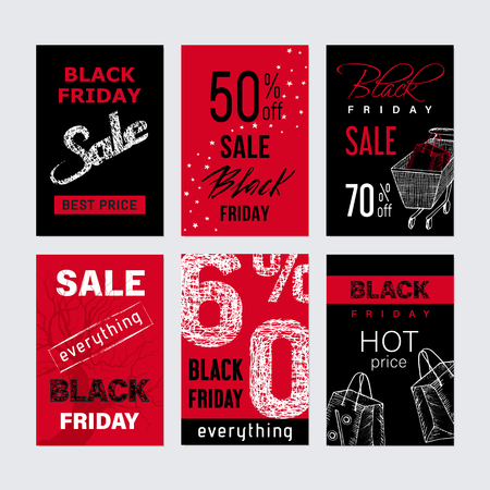Set of six Black Friday Promo seals stickers
