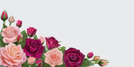 Horizontal card with delicate realistic roses Çizim