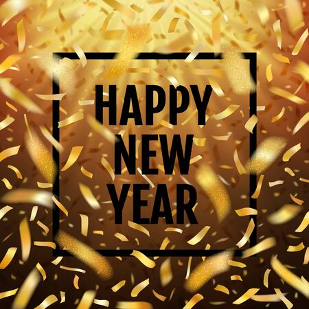Winter typographic New Year with golden confetti fireworks