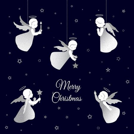 Simple little cute angels with shiny wings with a calligraphy font congratulations text Merry Christmas. Angels with stars, candle and snowflakes on a dark blue background. Stock Illustratie