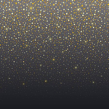 Dark gradient vector abstract background with shine gold spangles, flashes, glitter. Seamless horizontal border. Modern trendy banner or poster design for Christamas, New Year, birthday.