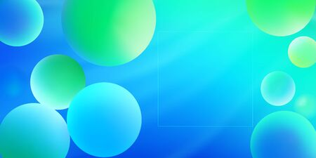 Neon vector abstract background with colorful spheres and place for text. Gradient green and blue bubbles. Modern trendy banner or poster design Stock Illustratie