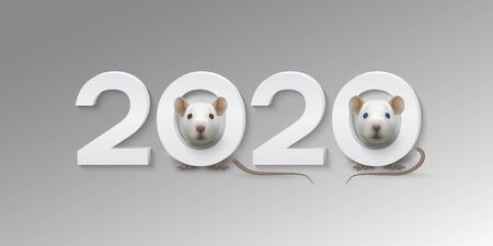 Happy New Year greeting card with cute white rats