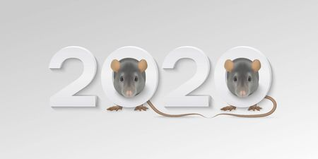 Happy New Year greeting card with cute gray rats