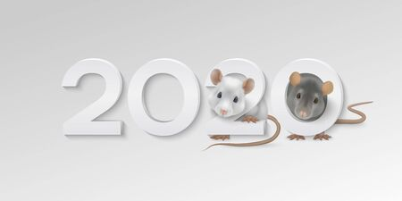 Happy New Year horizontal greeting card with cute white and gray rats Çizim