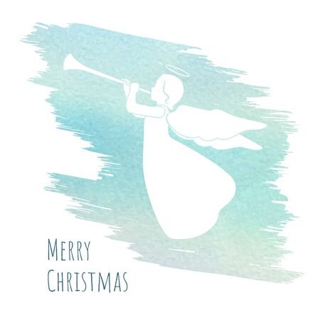 Merry Christmas card with angel and trumpet