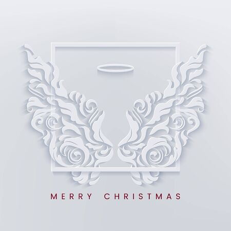 Merry Christmas paper cut card with angel wings