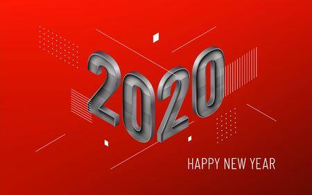 Winter typography New Year with geometric elements Çizim