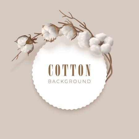 Vector frame with cotton branch Çizim