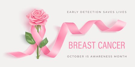 Breast cancer awareness month vector banner with pink ribbon and rose