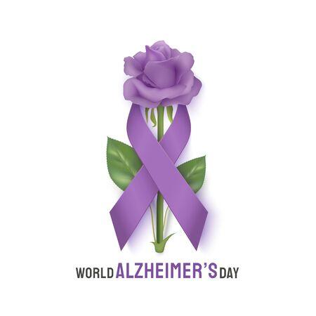 World Alzheimer s day banner with rose