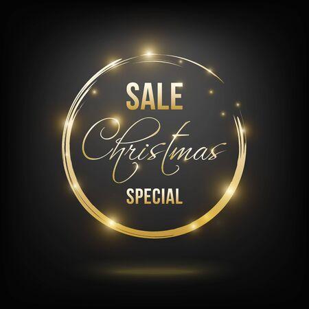 Christmas sale banner golden on black