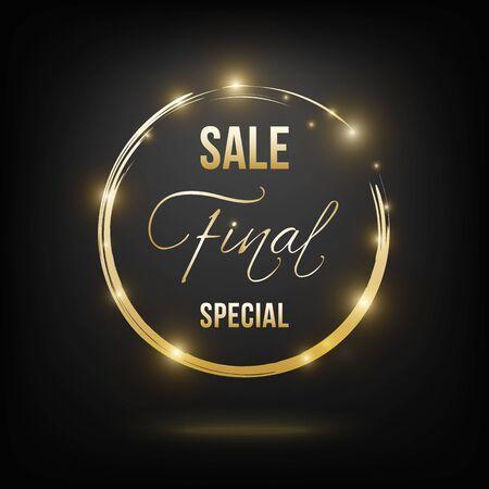 Final sale banner golden on black Çizim