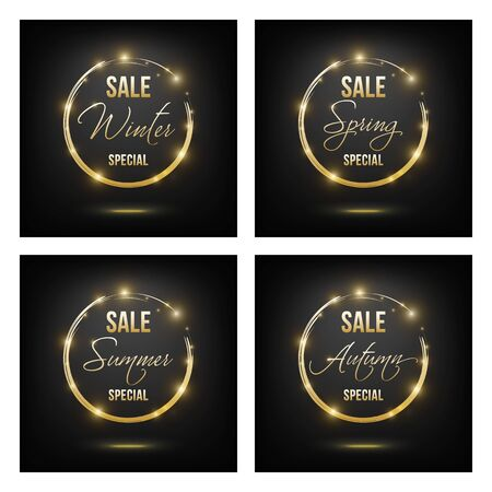 Set of golden on black sale banners for four seasons