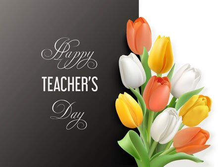 Teacher s day horizontal card with tulips Vettoriali