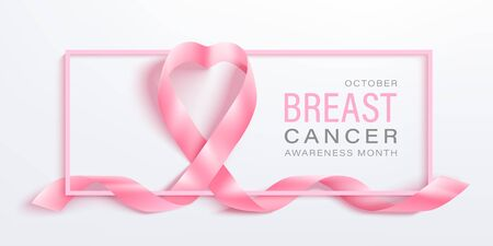 Breast cancer awareness month vector banner with pink ribbon