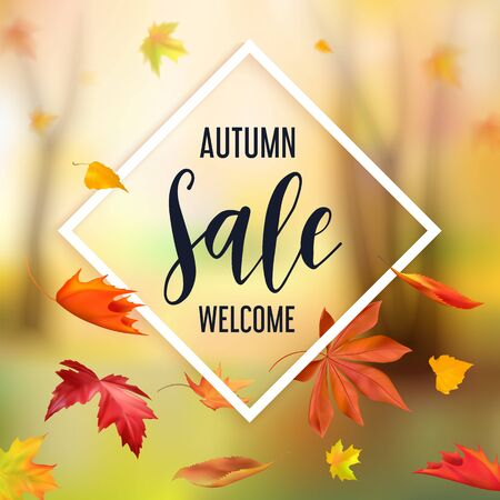 abstract autumn Sale banner with flying leaves
