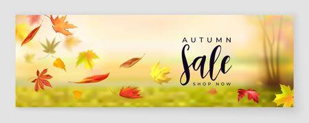 Fall season sale horizontal banner