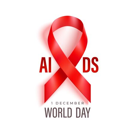 World Aids Day banner with red ribbon Çizim