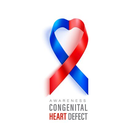 Congenital Heart Defect Awareness banner with red and blue ribbon