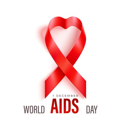 World Aids Day horizontal banner with red ribbon