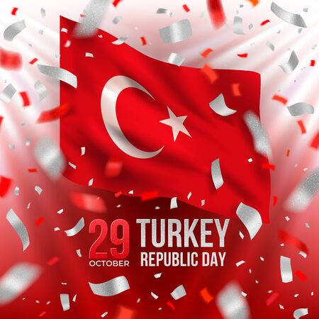 Turkey Republic Day banner with flag and confetti