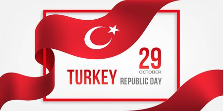 Turkey Republic Day banner with frame and ribbon