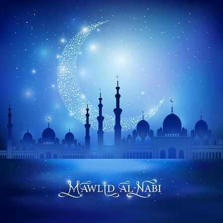 Mawlid Al Nabi calligraphic congratulation and shine crescent moon, mosque silhouette on a night blue sky background. Vector Illustration for greeting card, poster and banner