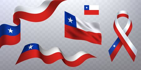 Set of photorealistic ribbons, flags of Chile.