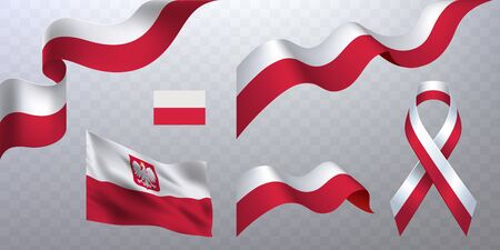 Set of photorealistic flying ribbons, flags in the colors of the national flag of Poland on a transparent background. Çizim