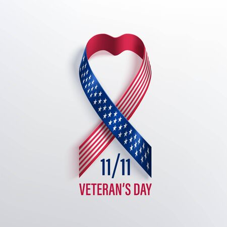Veterans day celebration banner with  photorealistic ribbon in colour of the national flag of United States of America. Red and blue vector ribbon in heart shape with shadow on a light background. Ilustração