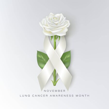 lung cancer awareness month vector banner with photorealistic white rose and ribbon Ilustracja