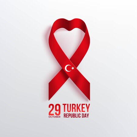 Turkey Republic Day banner with ribbon in heart shape