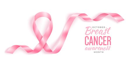 Breast cancer awareness month vector banner with photorealistic pink ribbon