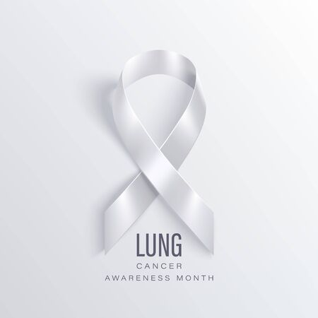lung cancer awareness month vector banner with photorealistic white ribbon