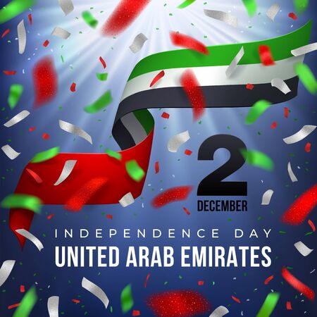 2 december UAE National Day greeting card. Waving flag with white, red, green, flying confetti on a blurred rays dark blue background. Patriotic Symbolic background. Vector illustration