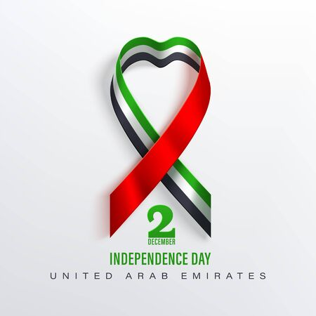 United Arab Emirates banner with photorealistic ribbon with shadow  in color of national flag of United Arab Emirates. Red, white, green, black vector stock design. Çizim