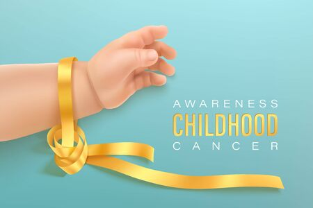 Childhood cancer awareness gold ribbon on baby hand on a light cyan background. Gold ribbon symbolic concept raising campaign support help childhood cancer awareness